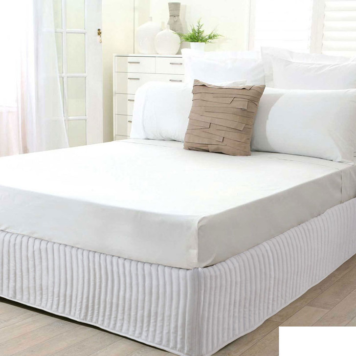 Single Bed White Quilted Valance