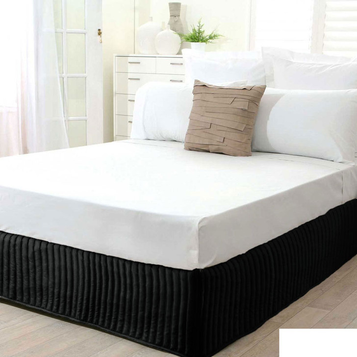 Single Bed Black Quilted Valance