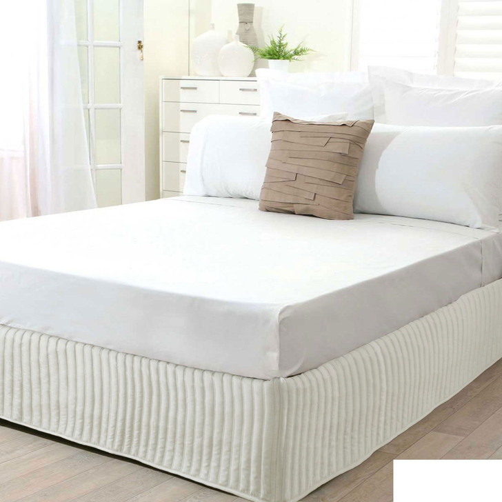 Queen Bed Cream Quilted Valance