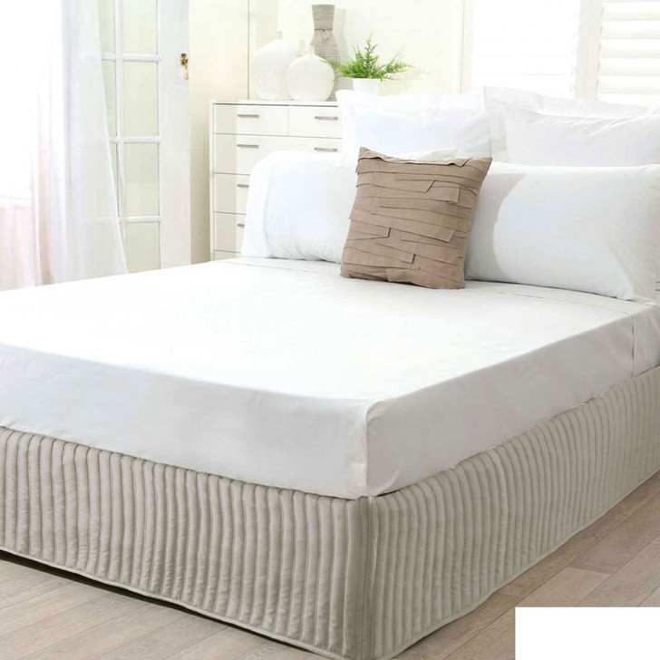 Single Bed Stone Quilted Valance