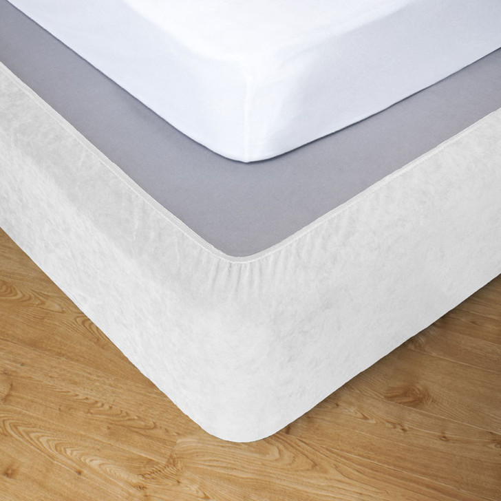 White Single Bed Stretch Bed Wrap Valance