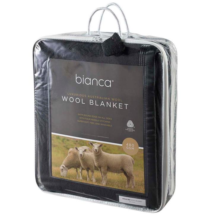 Bianca Charcoal Super King Wool Blanket   My Linen
