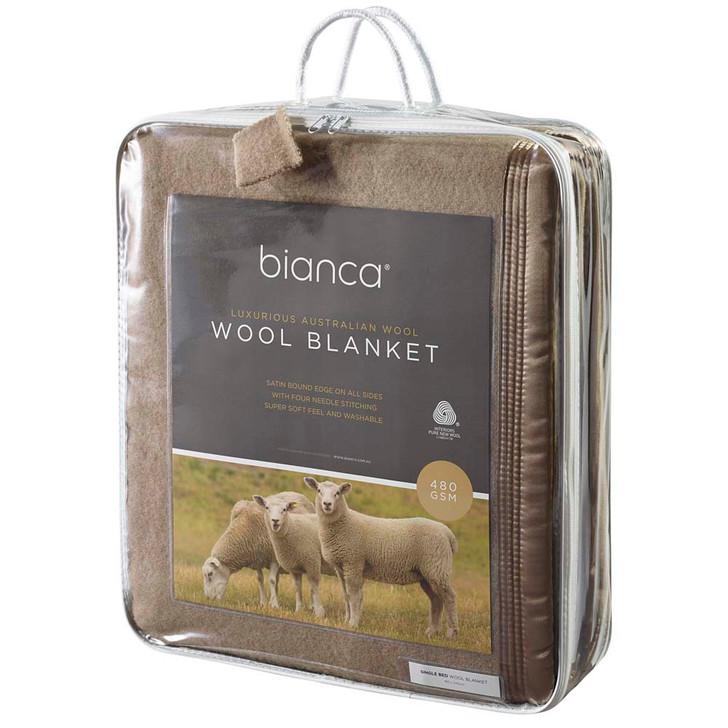Bianca Mocha Queen Bed Wool Blanket   My Linen
