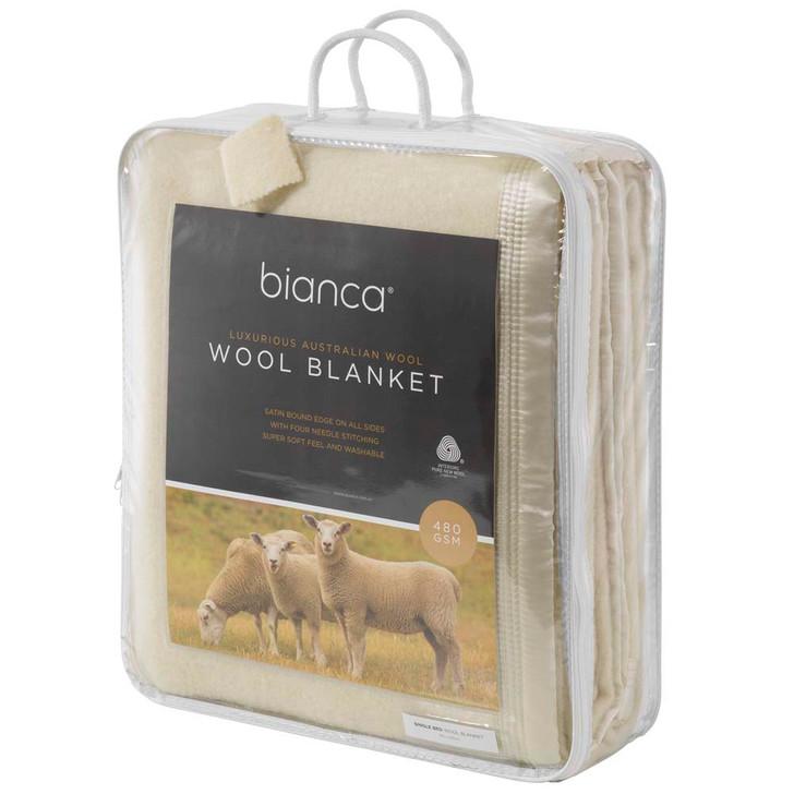Bianca Cream King Single Bed Wool Blanket   My Linen