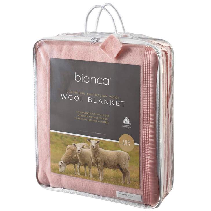 Bianca Dusty Pink King Single Bed Wool Blanket | My Linen