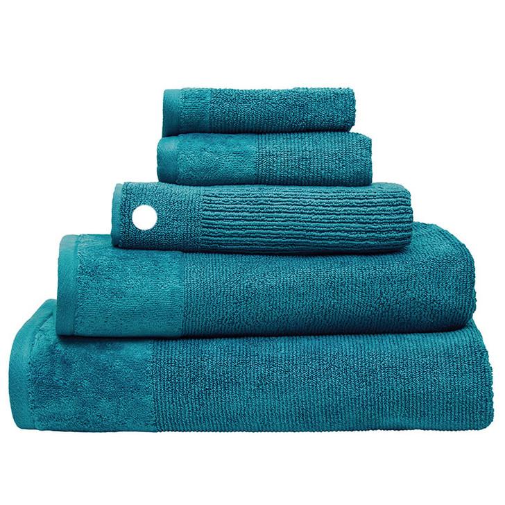 100% Cotton Costa Teal Ribbed Bath Mat | My Linen