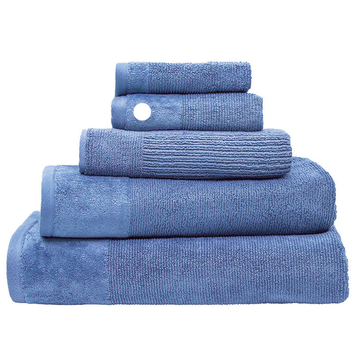 100% Cotton Costa Cornflower Blue Ribbed Hand Towel | My Linen