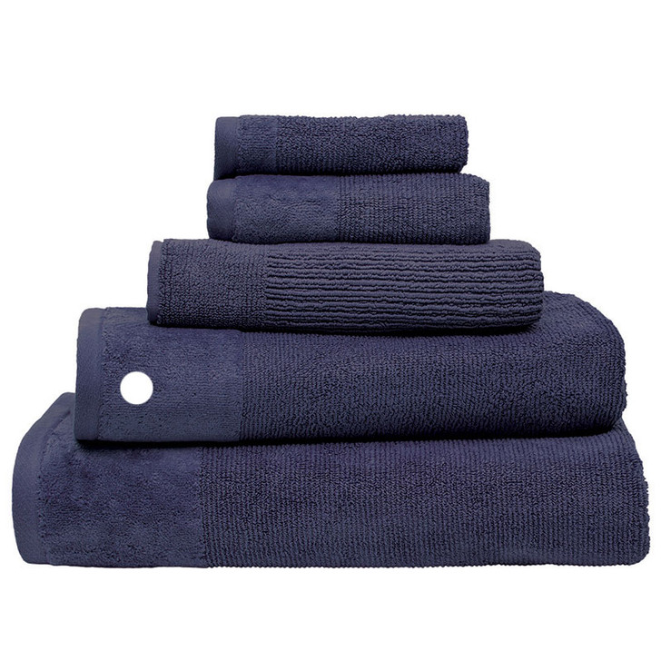100% Cotton Costa Ink Blue Ribbed Bath Towel   My Linen