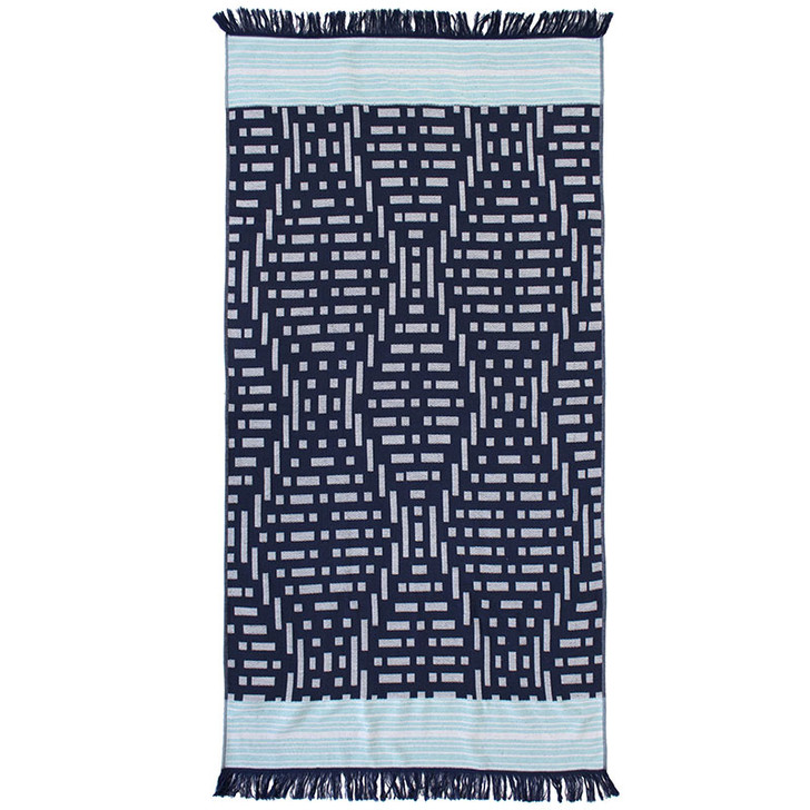 Bambury Kai Navy Beach Towel | My Linen