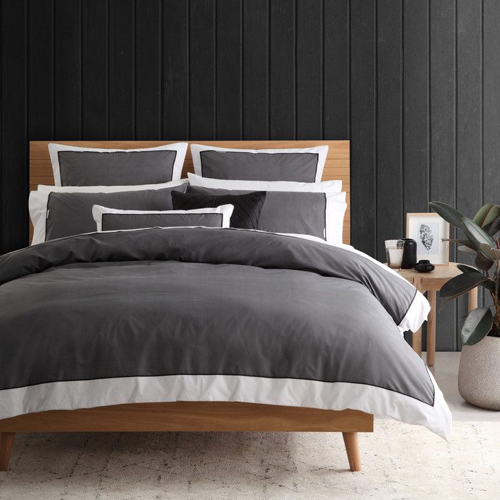 Logan and Mason Essex Charcoal Quilt Cover Set   My Linen