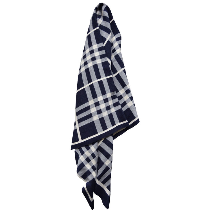 Jenny Mclean Tricote Navy Throw   My Linen