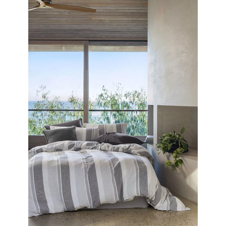 Linen House Calais Charcoal Queen Bed Quilt Cover Set | My Linen