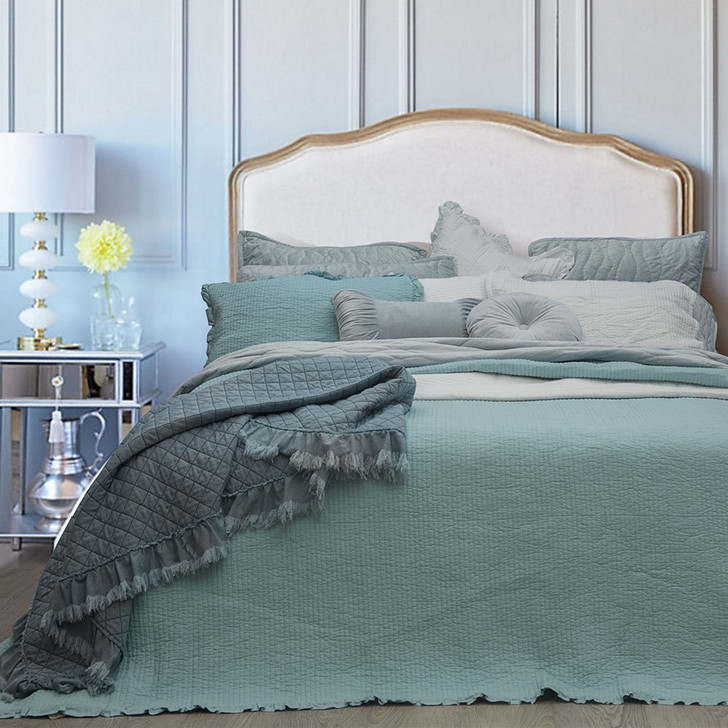 Macey and Moore Audrey Ice Blue Single Bed Coverlet Set   My Linen
