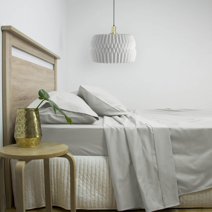 Gold Label Cotton Rich King Bed Sheet Set 3000TC Silver | My Linen