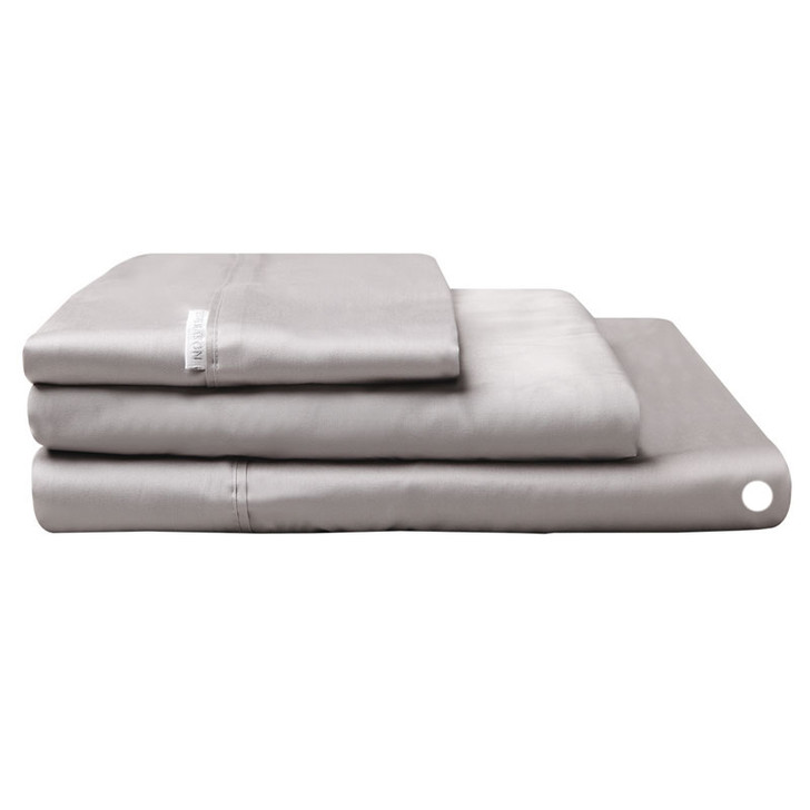 Logan and Mason Egyptian Cotton Flat Sheet Pewter   My Linen