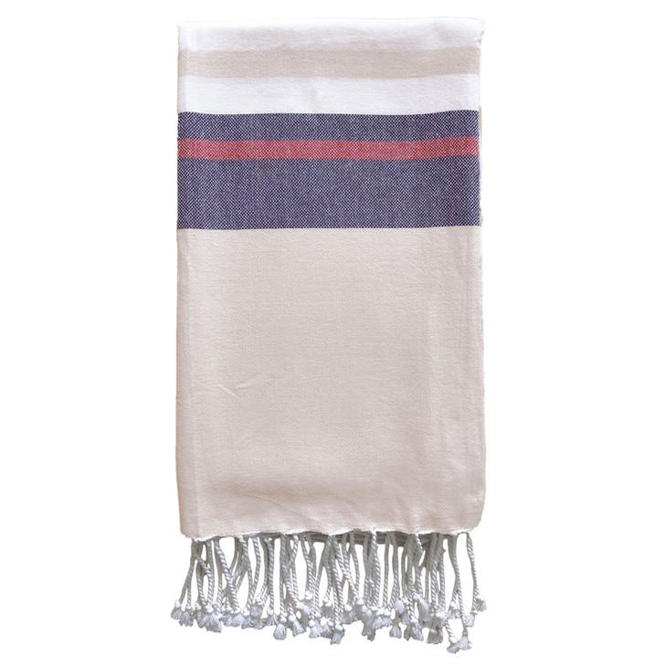 Rans Wellness Hammam Wide Stripe Beige Cotton Beach Towel | My Linen