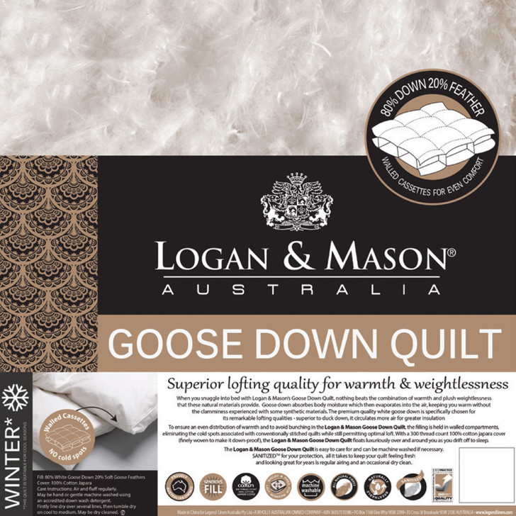 Logan and Mason 80/20 Goose Down and Feather Queen Bed Quilt | My Linen