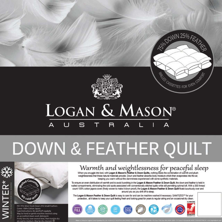 Logan and Mason 75/25 Duck Down and Feather Queen Bed Quilt   My Linen