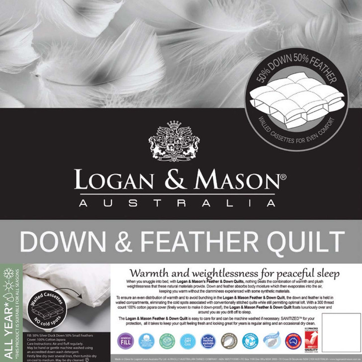 Logan and Mason 50/50 Duck Down and Feather Single Bed Quilt | My Linen