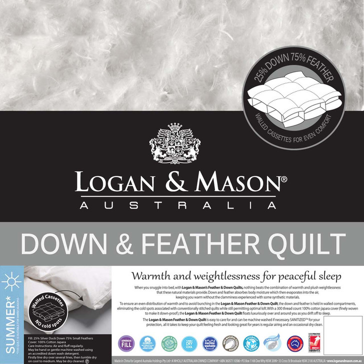 Logan and Mason 25/75 Duck Down and Feather Queen Bed Quilt   My Linen
