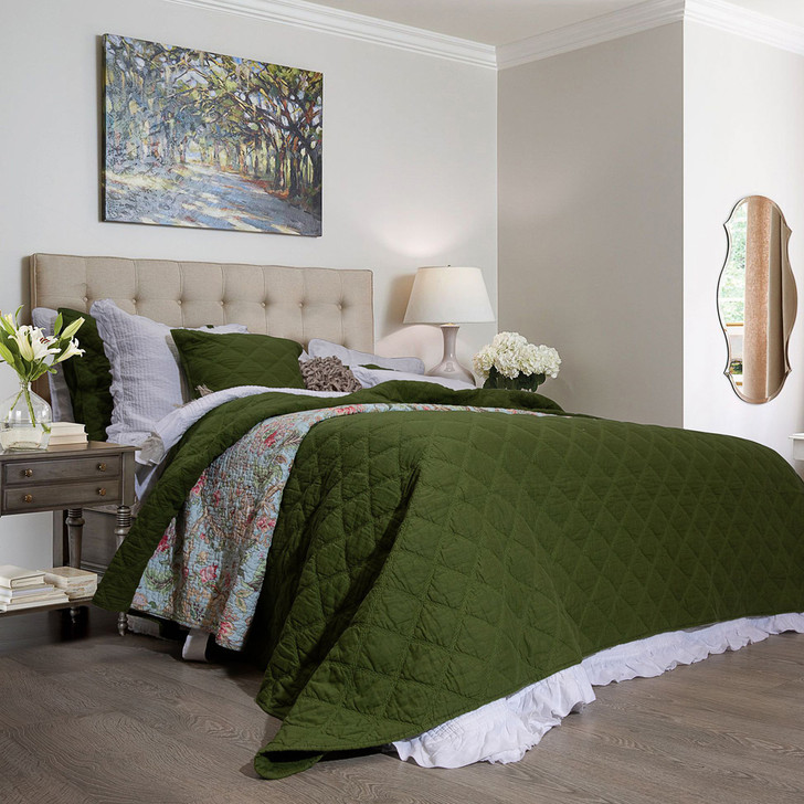 Macey and Moore Arabella Olive Green Queen Bed Coverlet Set | My Linen