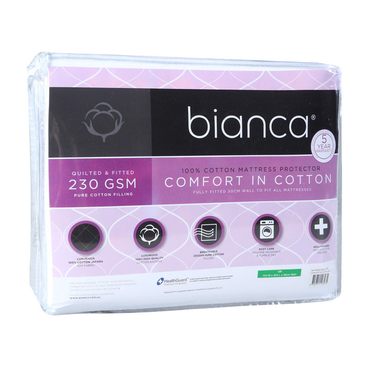 Bianca Comfort in Cotton Quilted Single Bed Mattress Protector   My Linen