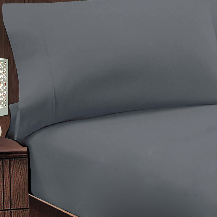 Jenny Mclean Abrazo 100% Cotton Flannelette King 50cm Bed Combo Charcoal | My Linen