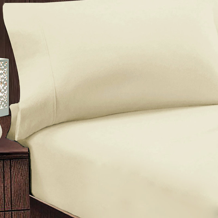 Jenny Mclean Abrazo 100% Cotton Flannelette Queen 50cm Bed Combo Ivory | My Linen