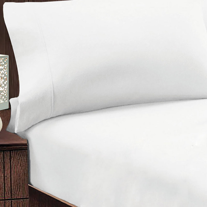 Jenny Mclean Abrazo 100% Egyptian Cotton Flannelette King 50cm Bed Combo White | My Linen