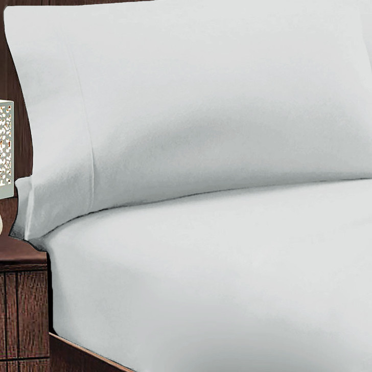 Jenny Mclean Abrazo 100% Cotton Flannelette Queen 50cm Bed Combo Silver   My Linen