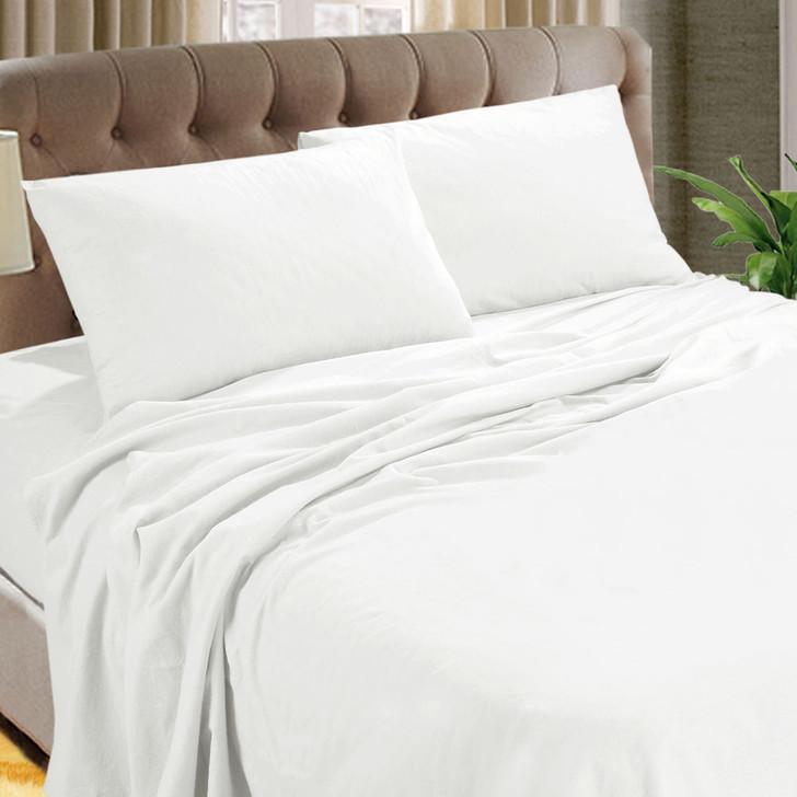 Kingtex Micro Flannel 40cm Double Bed Sheet Set White | My Linen