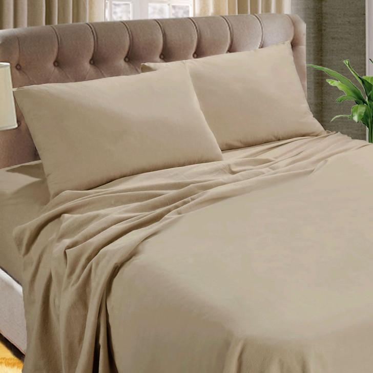 Kingtex Micro Flannel 40cm Double Bed Sheet Set Linen | My Linen