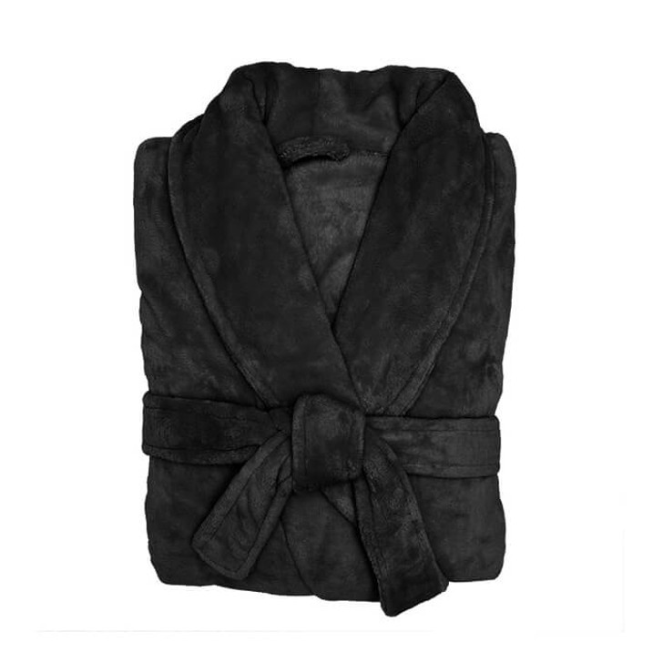 Bambury Microplush Bathrobe Black Medium / Large | My Linen