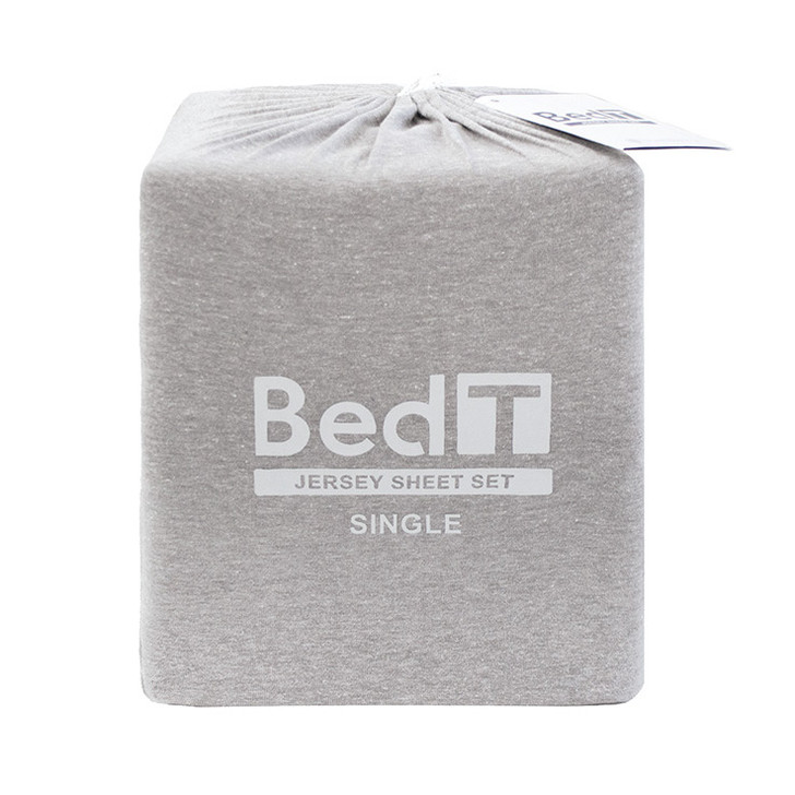 BedT 100% Cotton Jersey Knit Sheet Set Grey Single Bed | My Linen