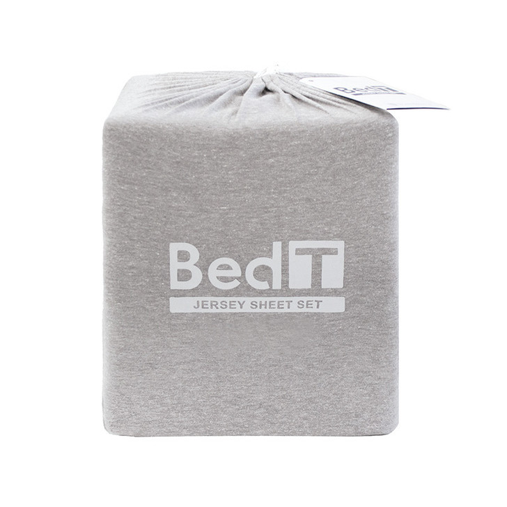 BedT 100% Cotton Jersey Knit Sheet Set Grey Double Bed | My Linen