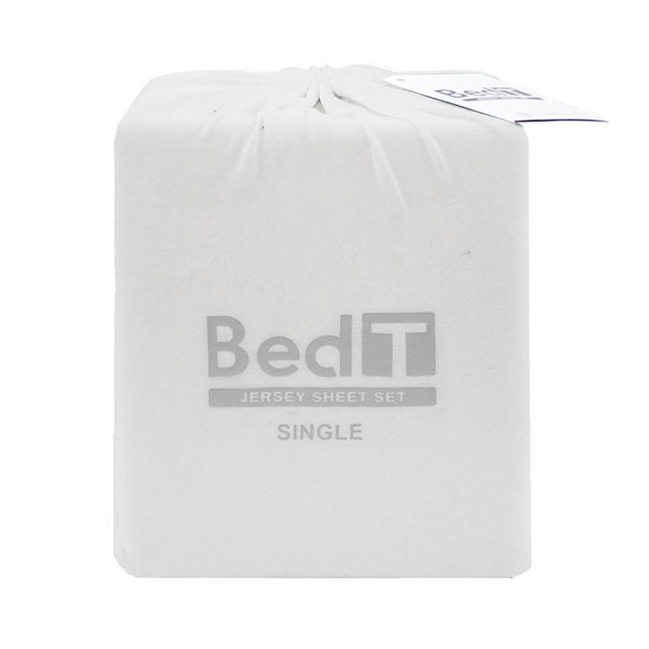 BedT 100% Cotton Jersey Knit Sheet Set White Single Bed | My Linen
