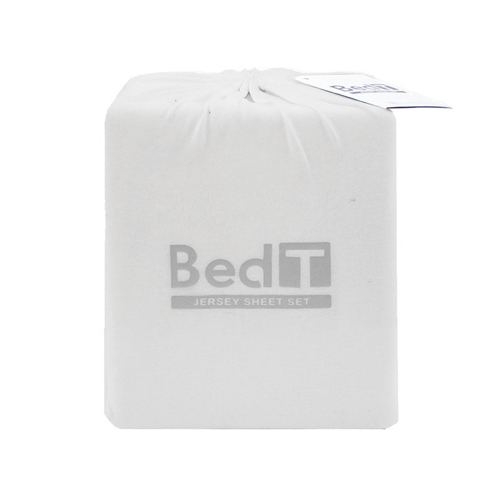 BedT 100% Cotton Jersey Knit Sheet Set White King Single Bed | My Linen