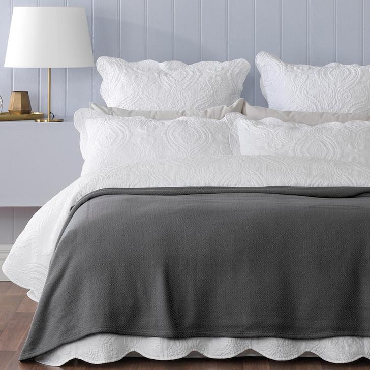 Norwood Single / Double Bed Blanket Coal   My Linen
