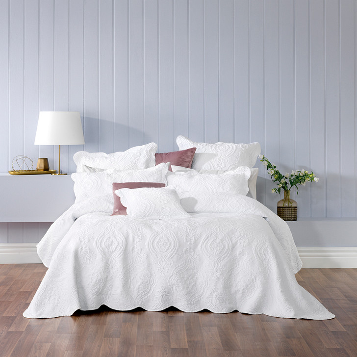Bianca Cordelia White Queen Bed Bedspread Set | My Linen