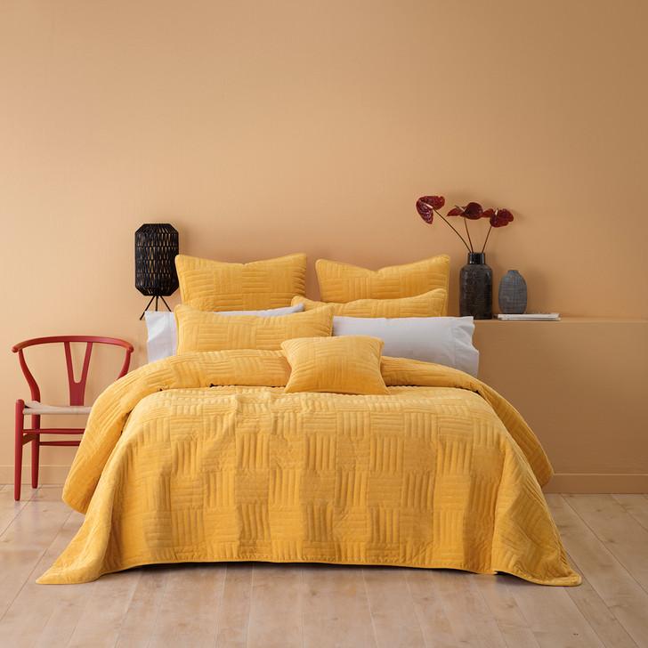 Bianca Raymond Mustard Queen / King Bed Coverlet Set   My Linen