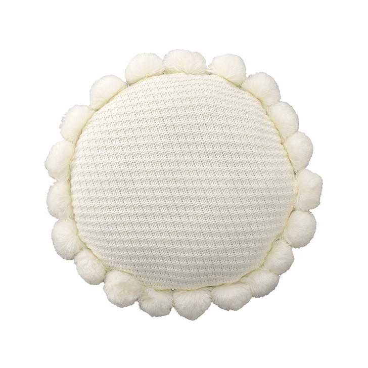 Bianca Pom Pom Round Filled Cushion | My Linen