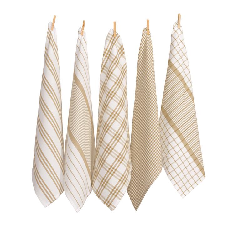Rans Milan Tea Towel Taupe 5 Pack | My Linen