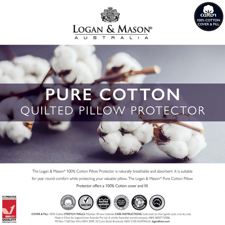 Logan and Mason Quilted Cotton Standard Pillow Protector   My Linen