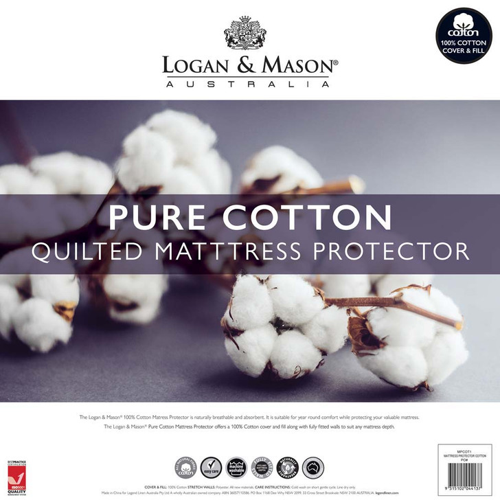 Logan and Mason Quilted Single Bed Cotton Mattress Protector   My Linen
