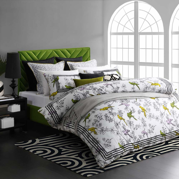 Florence Broadhurst Parakeets Lime King Bed Quilt Cover Set   My Linen