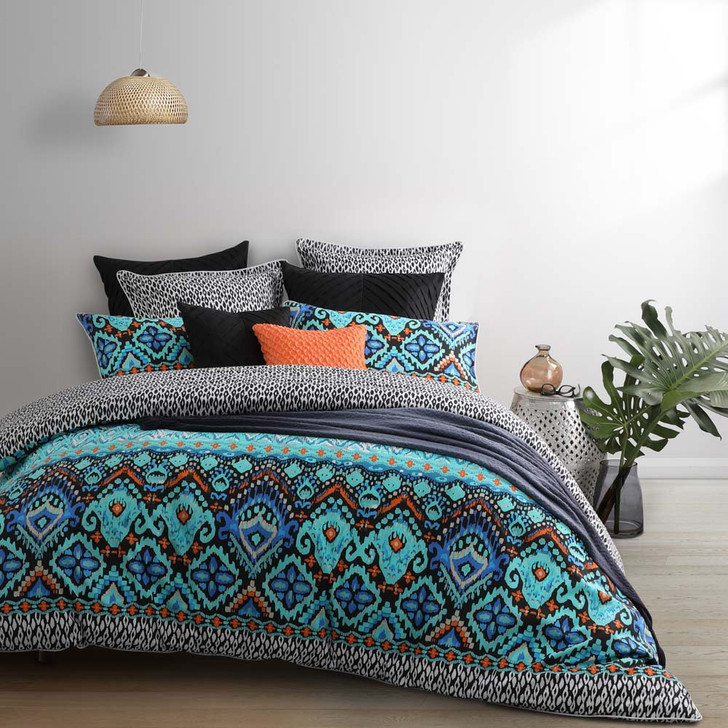 Logan and Mason Nomad Teal Queen Bed Quilt Cover Set | My Linen