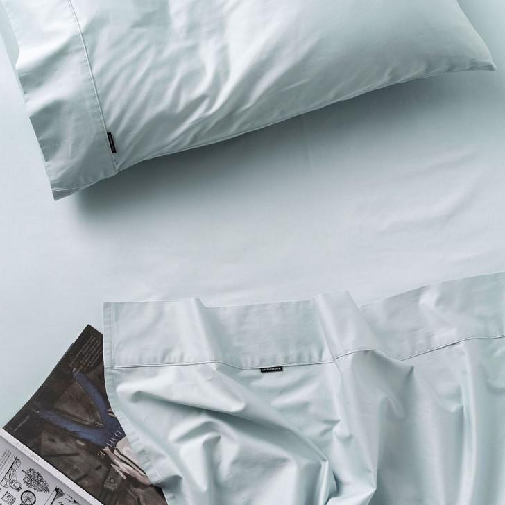 Linen House Augusta 100% Cotton Double Bed 50cm Sheet Set 500TC Pale Blue | My Linen