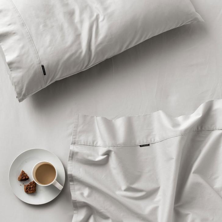 Linen House Augusta 100% Cotton Single Bed 50cm Sheet Set 500TC Grey | My Linen