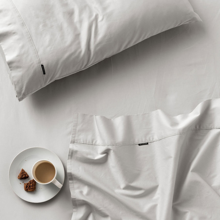 Linen House Augusta 100% Cotton King Bed 50cm Sheet Set 500TC Grey   My Linen