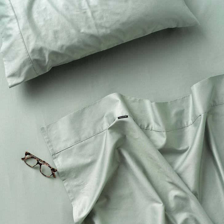 Linen House Augusta 100% Cotton King Bed 50cm Sheet Set 500TC Green Gum | My Linen